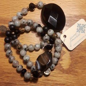 Bead and polished  rock  bracelet